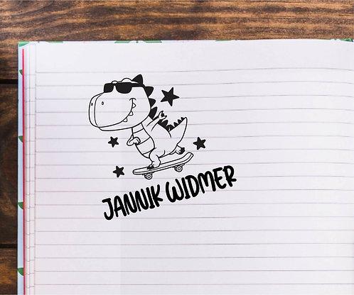 Skater Dinosaurier Stempel - Personalisiert Typo 108