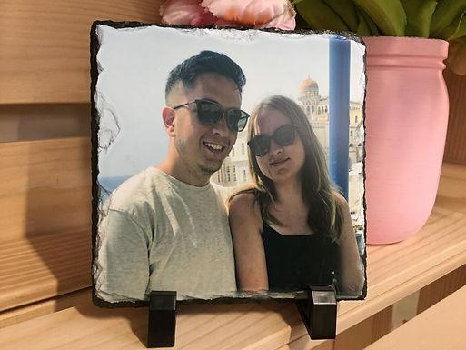 Schiefertafel mit Foto