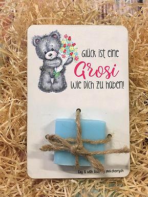 Say it with Soap - Holzkarte mit Seife -Glück ist eine Grosi wie dich zu haben