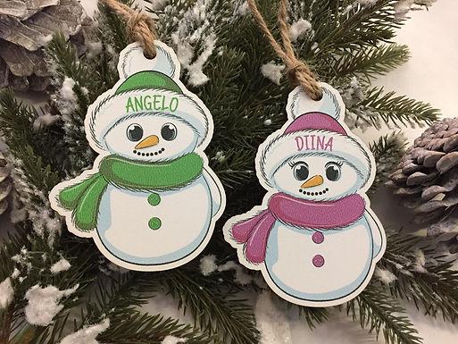 Schneemann Schneefrau Weihnachtsbaum Anhänger Personalisiert