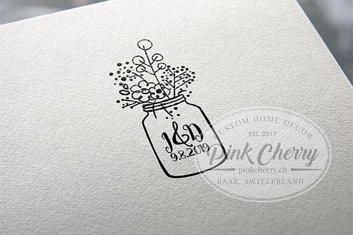 Holzstempel - Flower Jar - Hochzeit