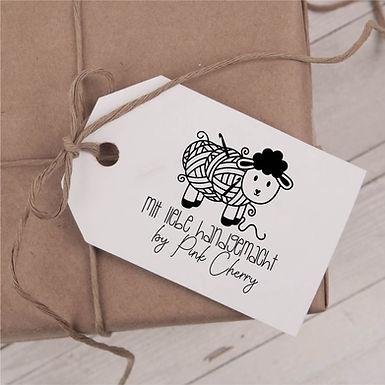 Mit Liebe Handgemacht Stempel - Schaf Wolle Typo 101 Personalisiert