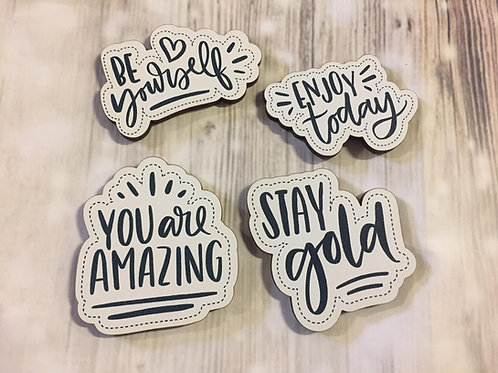 Holz Magnet -Be yourself Zitate - 4-er Set
