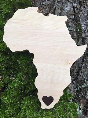 Schneidebrett - Afrika - Herz in Südafrika - Ahorn und Walnuss Holz
