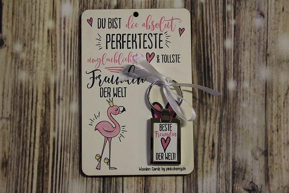 Holzkarte - Du bist die absolut Perfekteste .. inkl Schlüsselanhänger