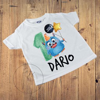 Kinder T-Shirt - Monster Geburtstag 1 Jahr - Personalisiert