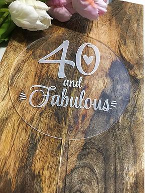 40 and Fabulous - Runde Platte mit Gravur