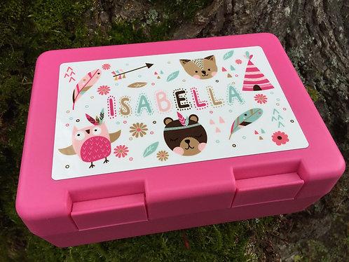 Lunchbox / Znüniböxli Pink - Boho - Personalisiert