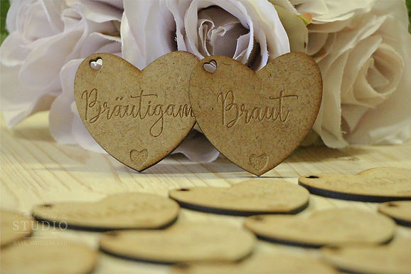 Hochzeitsherzen, Tischdeko - Streudeko Holz