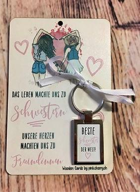 Holzkarte - Schwestern inkl Schlüsselanhänger - Beste Schwester der Welt