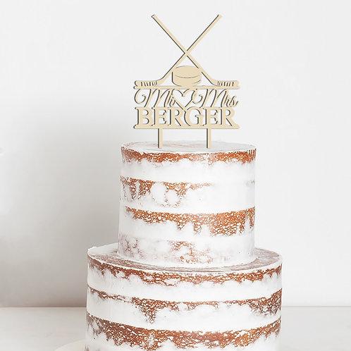 CakeTopper - Tortenstecker Mr & Mrs Hochzeit Eishockey - Puck - Hockeyschläger