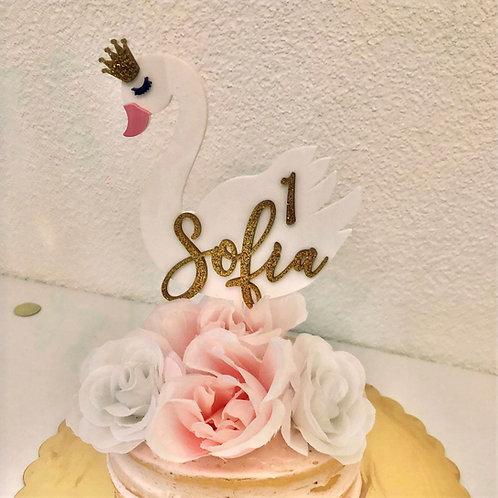 SCHWAN - GEBURTSTAG BIRTHDAY CAKE TOPPER TORTENSTECKER PERSONALISIERT