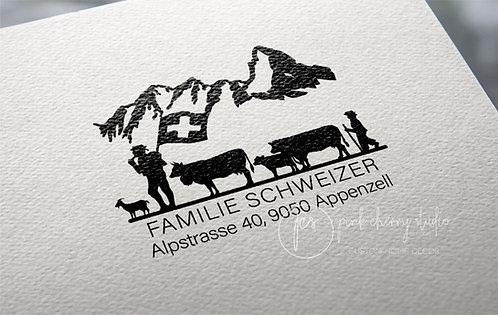 Adresstempel - Typo 53 - Alpaufzug - Schweiz