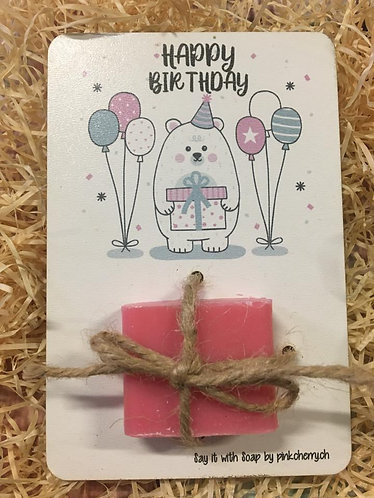 Say it with Soap - Holzkarte mit Seife - Happy Birthday - Bär