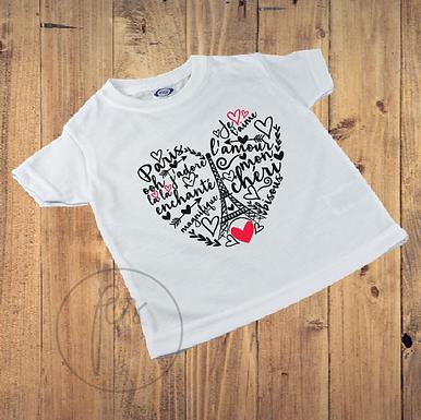 Kinder T-Shirt - Paris - Eiffel - Wordart - Herz