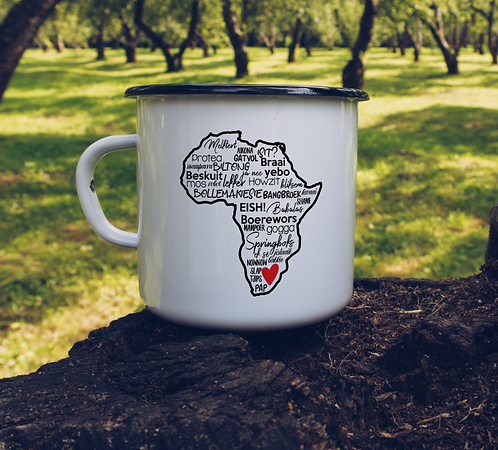 Emaille Tasse BLIKBEKER  South African Sayings