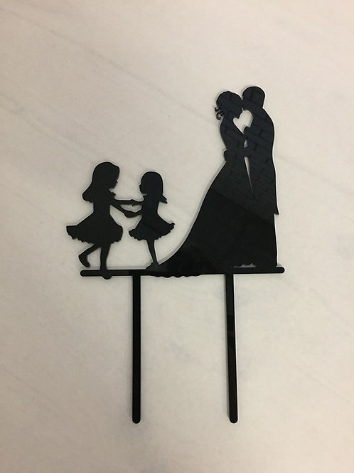 """CakeTopper - Tortenstecker """"Brautpaar mit Tanzenden Mädchen"""""""