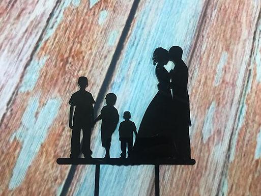 CakeTopper - Tortenstecker Brautpaar mit 3 Jungs - Silhouetten
