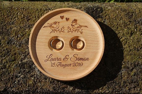 Ringhalter aus Holz - Hochzeitvögel - mit Persönlicher Gravur