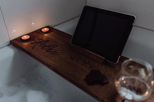 Badewannenbutler - Badewanneablage aus Holz -Personalisiert