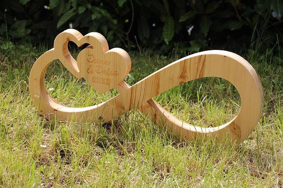 Infinity - Unendlichkeit Zeichen HERZEN aus Holz mit Gravur