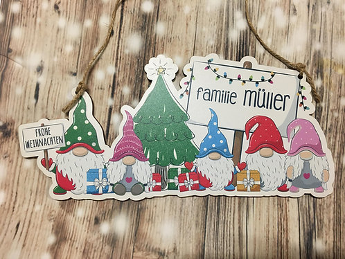 Wichtel Türschild - Frohe Weihnachten