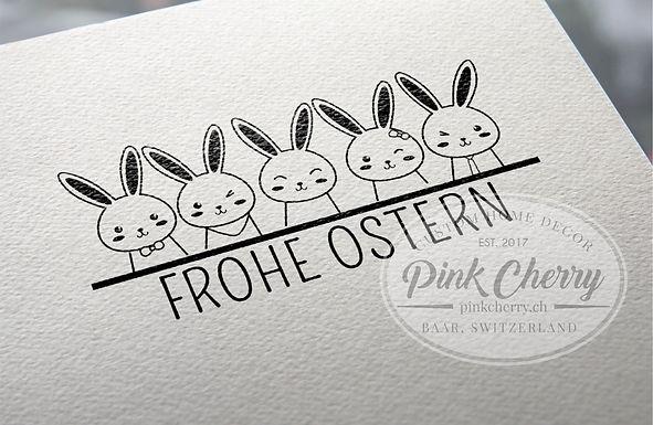 Holzstempel - FROHE OSTERN - Hasen