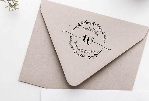 Kranz mit Monogram Familien Stempel Adresstempel -  Typo 95 - Personalisie