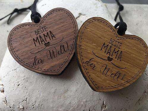 Holzanhänger -Herz -Beste Mama der Welt