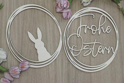 Holzkranz Hase - Frohe Ostern 2-er Set
