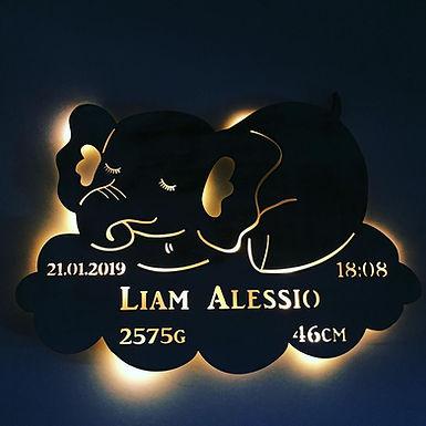 LED Nachtlicht Schlafender Elephant auf Wolke