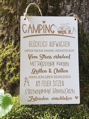 Camping Regeln - Holzschild mit Gravur