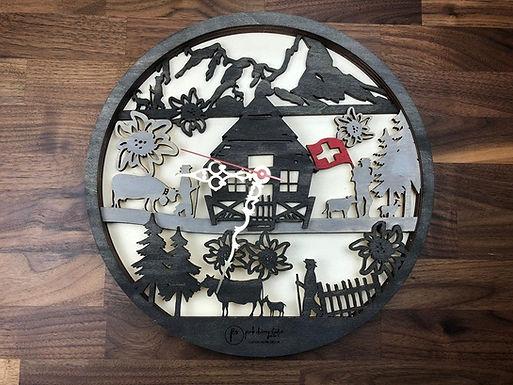 Schweizer Alpaufzug Uhr inkl Holzbox