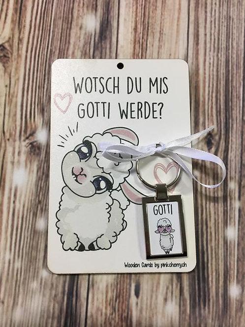 Holzkarte - Wotsch du mis Gotti werde? inkl Schlüssel