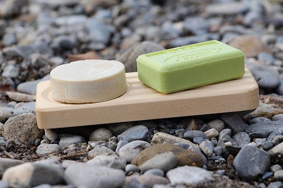 Seifenschale aus Holz - Double - Muschel inkl Festes Shampoo und 1. Seife