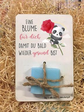 Say it with Soap - Holzkarte mit Seife -Panda - Eine Blume für dich