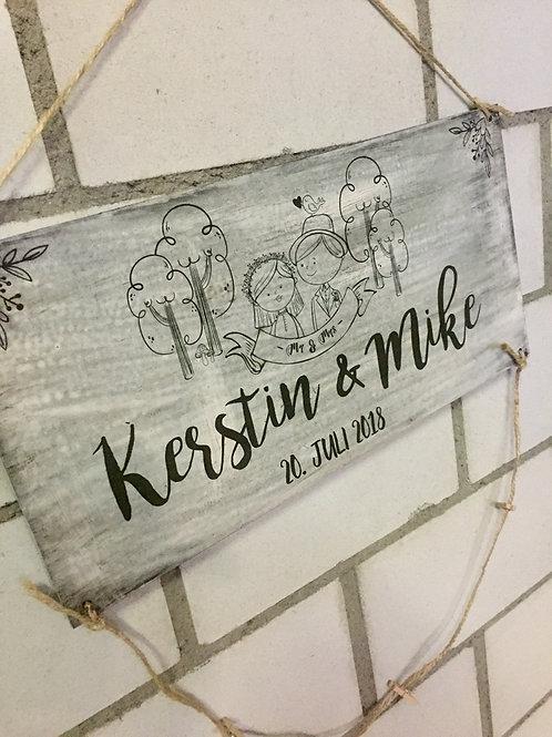"""Foto Hochzeitsschild """"Just Married"""" -Wald Hochzeit"""