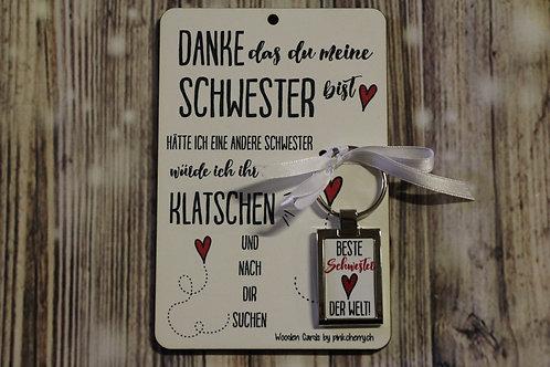 Holzkarte - Danke das du meine Schwester .. inkl Schlüsselanhänger