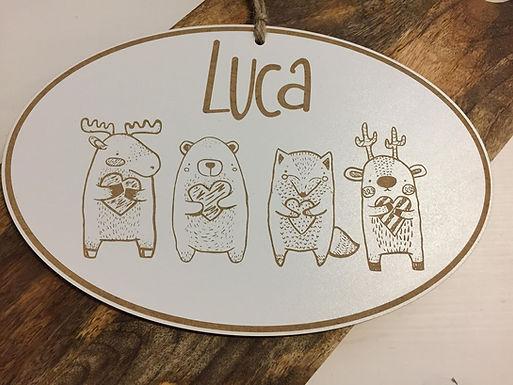 Waldtiere mit Herzen  Schild aus Holz - Personalisiert
