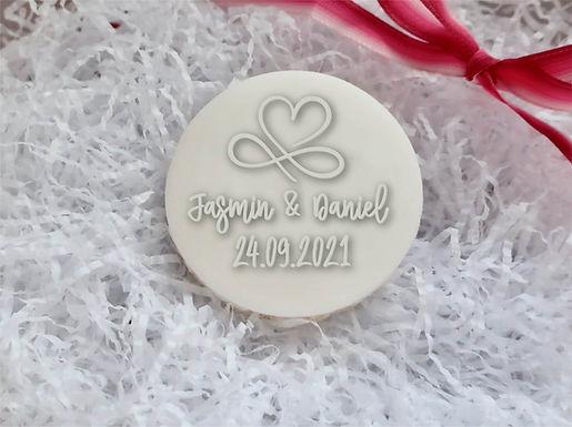 3D Hochzeit Infinity - Personalisiert Cookie Stamp - Fondant- / Kekstempel