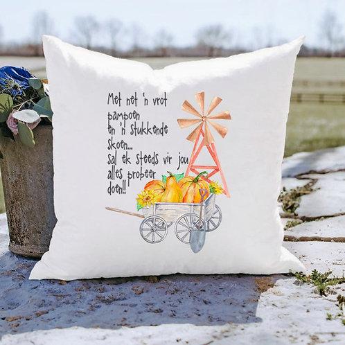 Kissen - Pillow - Met 'n vrot pampoen en 'n stukkende skoen