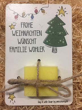 Say it with Soap - Holzkarte mit Seife - Frohe Weihnachten -Baum
