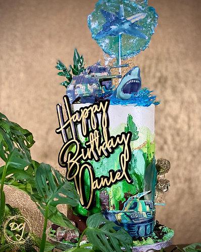Cake Topper - Tortenstecker 2 Farbig - Happy Birthday mit Name
