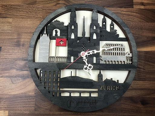 Zürich Skyline Uhr inkl Holzbox