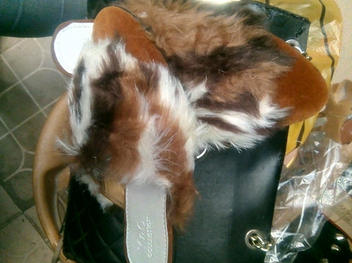 Fur ladies slippers