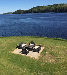 Gather around our fire pit and make s'mores while enjoying the scenery of the Machias River.