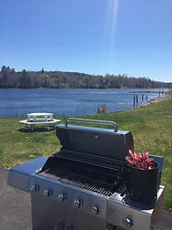 Gas grill and lobster pot for our guests to use overlooking the Machias River