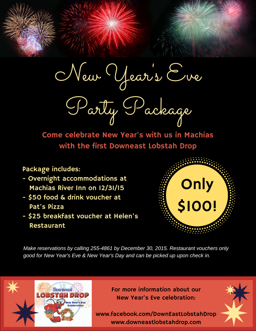 New Year's Eve Party Package at Machias River Inn