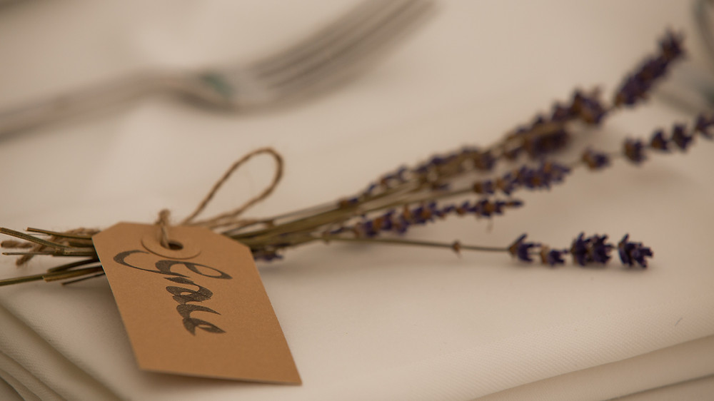 A simple hand made place name, you can't beat lavender!