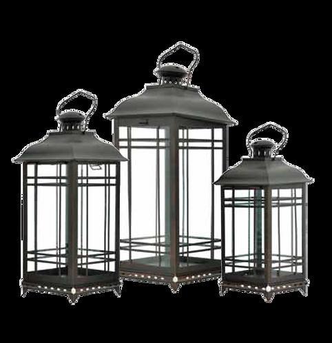 Metal Lantern - Square Pattern